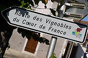 Sign with Route des Vignoble, Wine Route. Montigny village, Sancerre, Loire, France