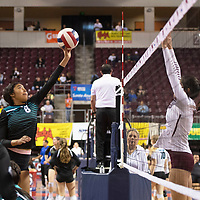 Navajo Prep's Nicole Martin (8) hits the ball during their match against Tularosa Friday morning at the Santa Ana Star Center in the NMAA Class 3A State Volleyball tournament in Rio Rancho. Navajo Prep Eagles swept the Tularosa Wildcats in straight sets.
