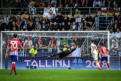 August 16, 2018 - Tallinn, Estonia - Keylor Navas of FC Real Madrid in action at UEFA Super Cup 2018 in Tallinn..The UEFA Super Cup 2018 was played between Real Madrid and Atletico Madrid. Atletico Madrid won the match 4-2 during extra time after and took the trophy after drawing at 2-2 during the first 90 minute of game play. (Credit Image: © Hendrik Osula/SOPA Images via ZUMA Wire)