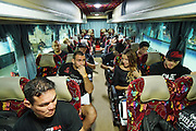 """Coach leaves with fighters at midnight back to the hotel. Front Adrian Pang, Legend Lightweight Champion who won his fight. Second row RHS, Russian Vitaly Bigdash, Top middleweight champion who won his fight<br /><br />MMA. Mixed Martial Arts """"Tigers of Asia"""" cage fighting competition. Top professional male and female fighters from across Asia, Russia, Australia, Malaysia, Japan and the Philippines come together to fight. This tournament takes place in front of a ten thousand strong crowd of supporters in Pelaing Stadium. Kuala Lumpur, Malaysia. October 2015"""
