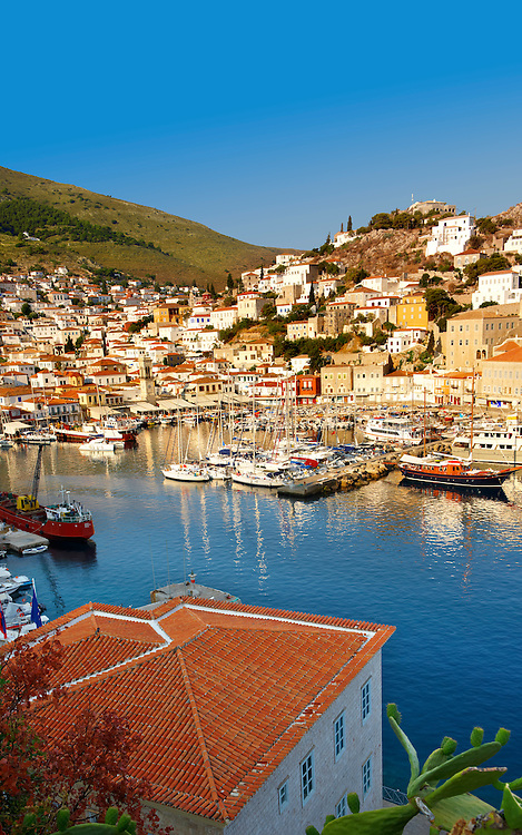The historic port of Hydra,  Greek Saronic Islands .<br /> <br /> Visit our GREEK HISTORIC PLACES PHOTO COLLECTIONS for more photos to download or buy as wall art prints https://funkystock.photoshelter.com/gallery-collection/Pictures-Images-of-Greece-Photos-of-Greek-Historic-Landmark-Sites/C0000w6e8OkknEb8