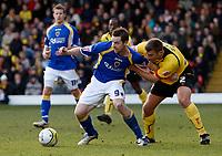 Photo: Richard Lane/Sportsbeat Images.<br />Watford v Cardiff City. Coca Cola Championship. 26/12/2007. <br />Cardiff's Steven Maclean is challenged by Watford's Matt Jackson.