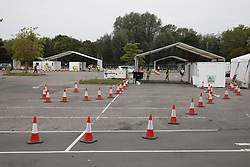 © Licensed to London News Pictures. 16/09/2020. Chessington, UK. Staff wait for people to arrive at a Coronavirus testing centre in a car park at Chessington World of Adventures, south west of London. The Government have faced criticism after people face delays in getting tested for the virus. Photo credit: Peter Macdiarmid/LNP