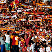 Galatasaray's supporters during their Friendly soccer match Galatasaray between SS Lazio at the Ataturk stadium in izmir Turkey on Saturday 04 August 2012. Photo by TURKPIX