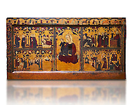 Gothic painted Panel Altar frontal of Jesus' childhood by anonymous artist from Navarra. Tempera and gold leaf on wood. Second quarter of 14th century. 90.8 x 171.2 x 5.8 cm. From the parish church of Arteta (Navarra).. National Museum of Catalan Art, inv no: 004368-000 .<br /> <br /> If you prefer you can also buy from our ALAMY PHOTO LIBRARY  Collection visit : https://www.alamy.com/portfolio/paul-williams-funkystock/romanesque-art-antiquities.html<br /> Type -     MNAC     - into the LOWER SEARCH WITHIN GALLERY box. Refine search by adding background colour, place, subject etc<br /> <br /> Visit our ROMANESQUE ART PHOTO COLLECTION for more   photos  to download or buy as prints https://funkystock.photoshelter.com/gallery-collection/Medieval-Romanesque-Art-Antiquities-Historic-Sites-Pictures-Images-of/C0000uYGQT94tY_Y