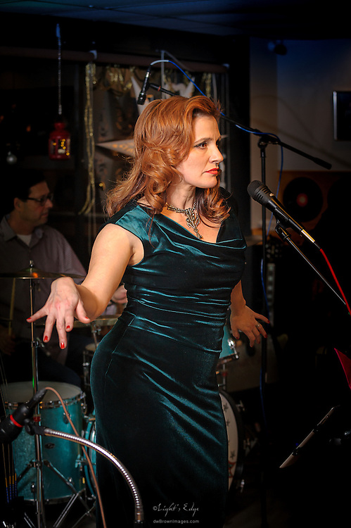 Michele Peraino, lead vocals for Swing That Cat, performing at Human Village Brewing Company in Pitman, NJ.
