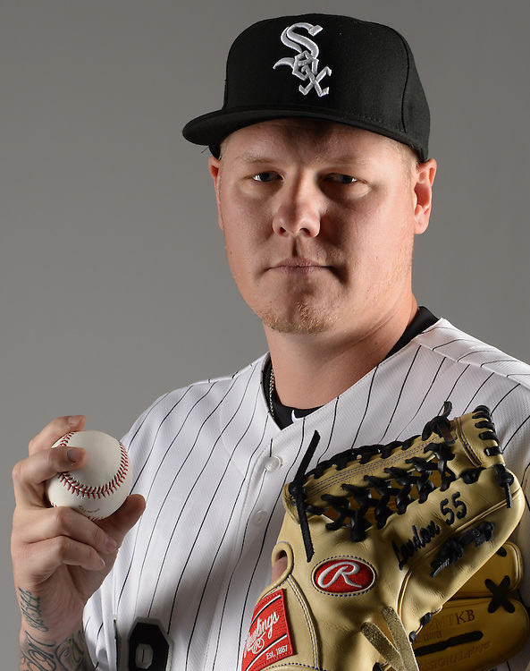 GLENDALE, ARIZONA - FEBRUARY 27:  Mat Latos #38 of the Chicago White Sox poses for a portrait during photo day on February 27, 2015 at Camelback Ranch in Glendale Arizona.  (Photo by Ron Vesely)    Subject:  Mat Latos