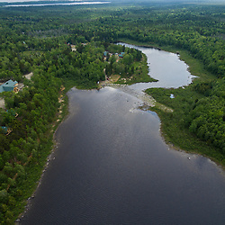 An aerial view of Second Roach Pond and the Appalachian Mountain Club's Medawisla Lodge in the Maine Woods near Greenville.