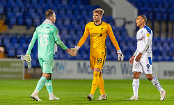 BIRKENHEAD, ENGLAND - Tuesday, September 29, 2020: Liverpool's goalkeeper Vitezslav Jaros (R) and Tranmere Rovers' goalkeeper Joe Murphy during the EFL Trophy Northern Group D match between Tranmere Rovers FC and Liverpool FC Under-21's at Prenton Park. Tranmere Rovers won 3-2. (Pic by David Rawcliffe/Propaganda)