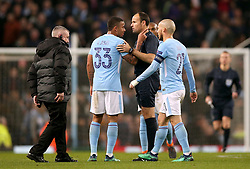 Manchester City's Gabriel Jesus remonstrates with Referee Antonio Miguel Mateu Lahoz at half time