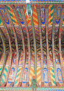 Painted ceiling by Mildred Holland 1863-66, Huntingfield church, Suffolk, England, UK