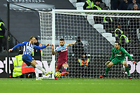 Football - 2019 / 2020 Premier League - West Ham United vs. Brighton & Hove Albion<br /> <br /> Brighton & Hove Albion's Glenn Murray scores his side's equalising goal to make the score 3-3, at The London Stadium.<br /> <br /> COLORSPORT/ASHLEY WESTERN