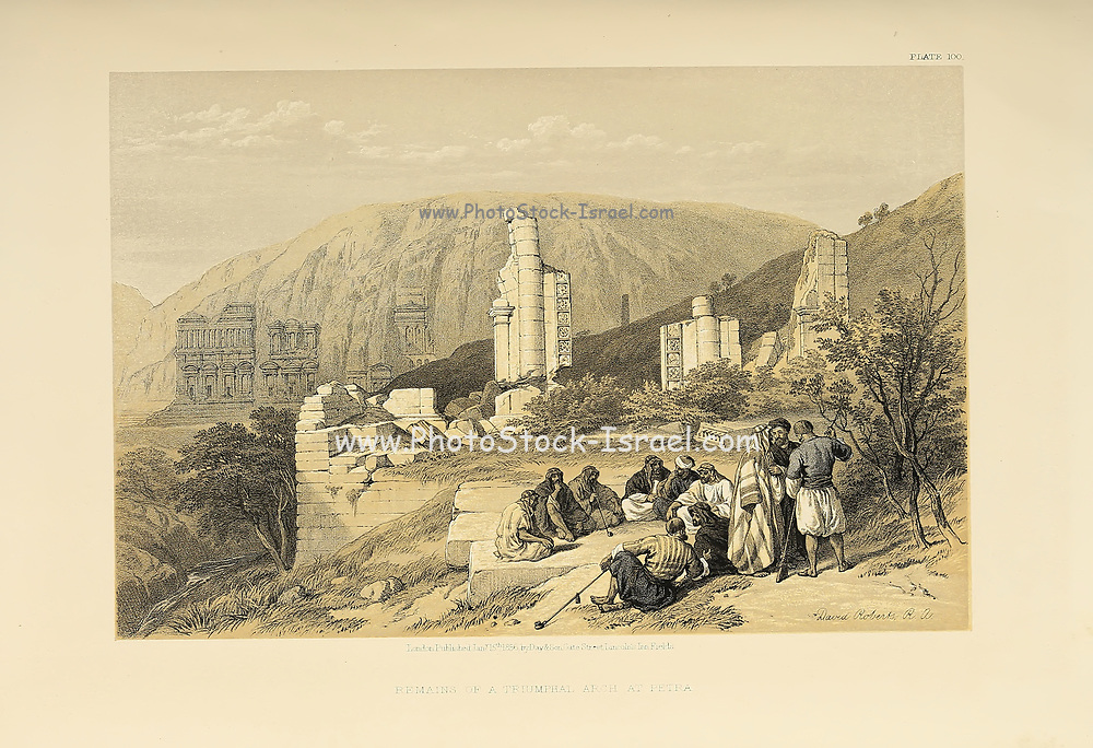 Ruins of Petra, Jordan from The Holy Land: Syria, Idumea, Arabia, Egypt & Nubia by Roberts, David, (1796-1864) Engraved by Louis Haghe. Volume 3. Book Published in 1855 by D. Appleton & Co., 346 & 348 Broadway in New York.