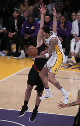 March 11, 2018 - Los Angeles, California, U.S - Kyle Kuzma #0 of the Los Angeles Lakers drives to the basket during their NBA game with the Cleveland Cavaliers on Sunday March 11, 2018 at the Staples Center in Los Angeles, California. Lakers defeat Cavaliers, 127-113. (Credit Image: © Prensa Internacional via ZUMA Wire)