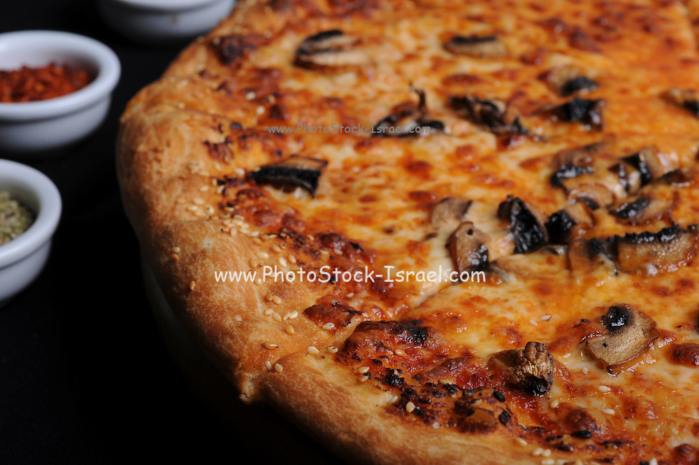 Close up of a freshly baked pizza