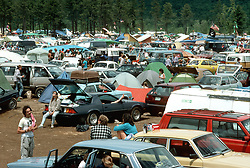 Parking and Camping Area at Oxford Plains Speedway, Oxford, Maine on the 2nd or 3rd of July 1988. An overview of the Deadhead Scene