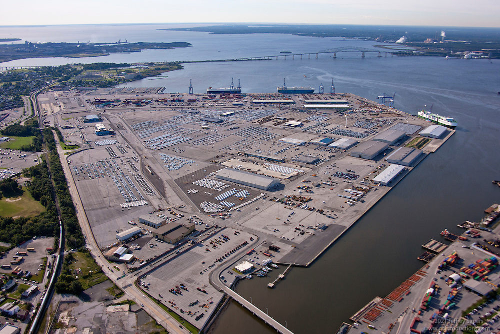 Baltimore MD Port of Baltimore Aerial Photography of Dundalk Marine Terminal.