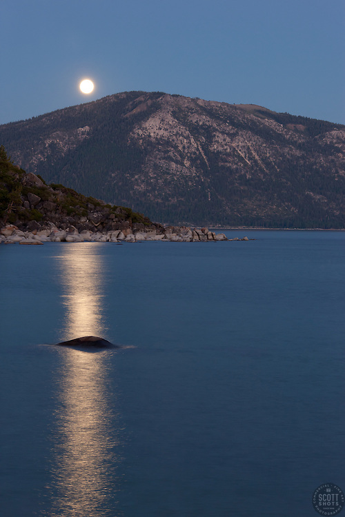 """""""Full Moon over Lake Tahoe 6"""" - This rising full moon was photographed from Speed Boat Beach, Lake Tahoe."""