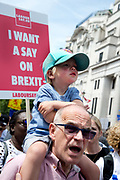 On 2nd anniversary of Brexit , June 23rd 2018, around 100,000 people marched in Central London demanding a People's Vote on the final Brexit deal. A toddler sits on his grandfathers shoulders in front of a placard saying I want a say on Brexit.
