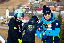 Meta Hrovat of Slovenia and Sergej Poljsak, coach of Slovenia during the Ladies' Slalom at 56th Golden Fox event at Audi FIS Ski World Cup 2019/20, on February 16, 2020 in Podkoren, Kranjska Gora, Slovenia. Photo by Morgan Kristan / Sportida