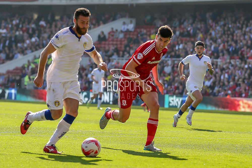 Leeds United forward Mirco Antenucci   through on goal  during the Sky Bet Championship match between Middlesbrough and Leeds United at the Riverside Stadium, Middlesbrough, England on 27 September 2015. Photo by Simon Davies.