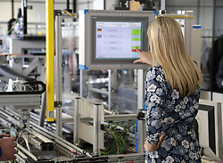 April 25, 2017 - Berlin, GERMANY - Ivanka Trump, daughter and adviser of U.S. President Donald Trump, touches a screen when visiting the Siemens Technik Akademie after she participated in the W20 Summit in Berlin Tuesday, April 25, 2017. (Credit Image: © Prensa Internacional via ZUMA Wire)
