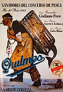 Quilmes beer advert, fisherman carries mermaid, 1948, Ushuaia, Argentina.