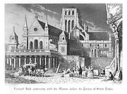 Leonard Holt talking to the Masons outside the Inigo Jones portico of Old St Paul's. Illustration by John Franklin (active 1800-1861) for William Harrison Ainsworth 'Old Saint Paul's', London 1855 (first published 1841). Engraving