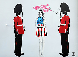 A piece of graffiti by street artist Pegasus, depicting Meghan Markle wearing Princess Diana's tiara and flanked by a couple of Royal Guards, is defaced on a wall in Islington, London.