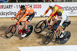 March 1, 2019 - Pruszkow, Poland - Jan Wilem  Van Schip (NED) Kelland O'Brien (AUS) Sebastian Mora Vedri (ESP) compete during the Men's Points Race at the UCI Track Cycling World Championships in Pruszkow on March 1, 2019. (Credit Image: © Foto Olimpik/NurPhoto via ZUMA Press)
