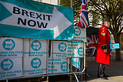 On the day that the EU in Brussels agreed in principle to extend Brexit until 31st January 2020 aka Flextension and not 31st October 2019, a Chelsea Pensioner sells Remembrance poppies, next to Brexit Party flags and banners during a Brexit protest outside parliament, on 28th October 2019, in Westminster, London, England.