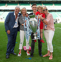 Rugby Union - 2019 Gallagher Premiership Final - Exeter Chiefs vs Saracens<br /> <br /> Saracens owner Nigel Wray and his family pose with the trophy, at Twickenham Stadium.  <br /> <br /> COLORSPORT / ALAN WALTER