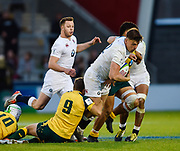 England centre  Johnny Williams runs at the Australia defence during the World Rugby U20 Championship  match England U20 -V- Australia U20 at The AJ Bell Stadium, Salford, Greater Manchester, England on June  15  2016, (Steve Flynn/Image of Sport)