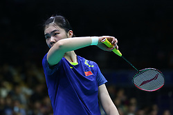 April 26, 2018 - Wuhan, Wuhan, China - Wuhan, CHINA-26th April 2018: Chinese badminton player Gao Fangjie competes with Indian badminton player Saina Nehwal at 2018 Badminton Asia Championships in Wuhan, central China's Hubei Province, April 26th, 2018. (Credit Image: © SIPA Asia via ZUMA Wire)