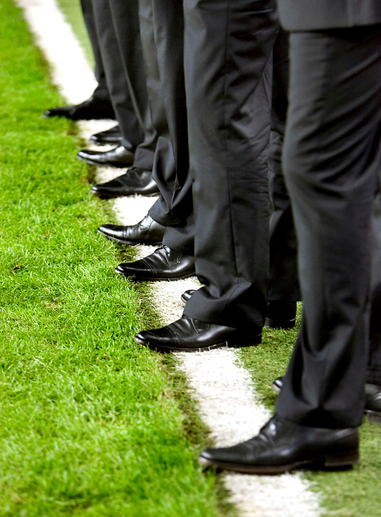 The Netherlands, Amsterdam, 11-10-2006.<br /> Football, International, Qualification round for the european championships 2008.<br /> The Netherlands vs Albania.<br /> The technical staff of the dutch football team standing on the side line before the start of the match. All the members of the technical staff are former professional football players who are used to be on the pitch.<br /> Photo: Klaas Jan van der Weij