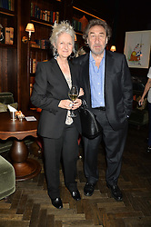 HOWARD JACOBSON and his wife JENNY DE YONG at the Installation And Reveal Of Gerald Scarfe's Exclusive Artworks In Scarfes Bar at the Rosewood Hotel, 252 High Holborn, London on 7th April 2014.