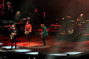 The Rolling Stones: Mick Jagger, Ronnie Wood, Keith Richards and Charlier Watts on stage. 14 on Fire tour, Perth, Western Australia