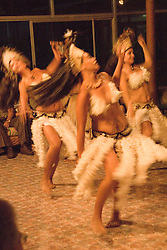 Chile, Easter Island:  The Kari Kari dance troupe dances at the Hotel Hanga Roa in Hanga Roa.  Easter Island and South Pacific dance styles..Photo #: ch324-33012.Photo copyright Lee Foster www.fostertravel.com lee@fostertravel.com 510-549-2202