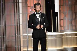 Jan 8, 2017 - Beverly Hills, California, U.S - Presenter CHRIS PINE on stage at the 74th Annual Golden Globe Awards at the Beverly Hilton in Beverly Hills, CA on Sunday, January 8, 2017. (Credit Image: ? HFPA/ZUMAPRESS.com)