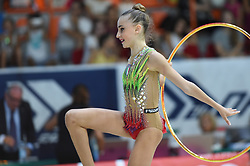 July 28, 2018 - Chieti, Abruzzo, Italy - Junior Rhythmic gymnast Annapaola Cantatore of Italy performs her hoop routine during the Rhythmic Gymnastics pre World Championship Italy-Ukraine-Germany at Palatricalle on 29th of July 2018 in Chieti Italy. (Credit Image: © Franco Romano/NurPhoto via ZUMA Press)
