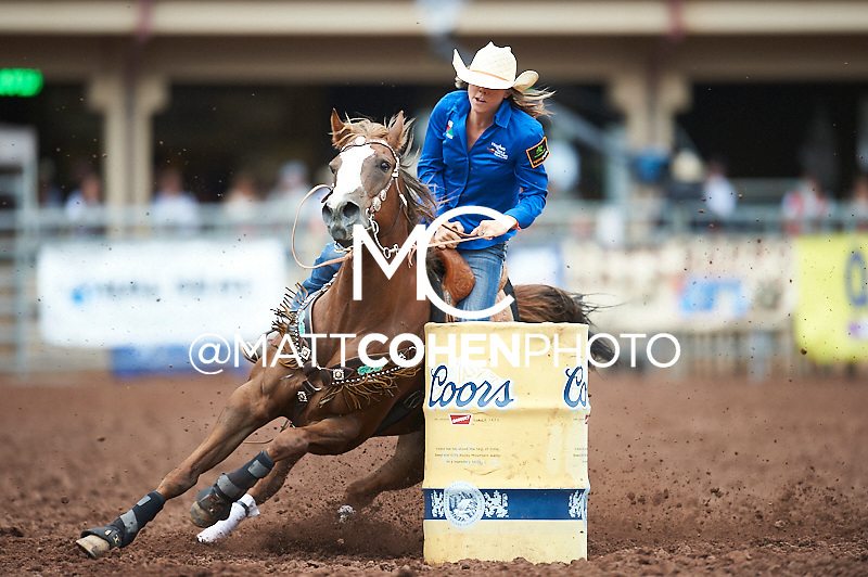 Barrel racer Meghan Johnson of Deming, NM competes at the Pikes Peak or Bust Rodeo in Colorado Springs, CO.<br /> <br /> <br /> UNEDITED LOW-RES PREVIEW<br /> <br /> <br /> File shown may be an unedited low resolution version used as a proof only. All prints are 100% guaranteed for quality. Sizes 8x10+ come with a version for personal social media. I am currently not selling downloads for commercial/brand use.