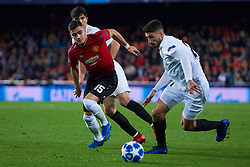 December 12, 2018 - Valencia, U.S. - VALENCIA, SPAIN - DECEMBER 12: Andreas Pereira, defender of Manchester United competes for the ball with Piccini, defender of Valencia CF during the UEFA Champions League group stage H football match between Valencia CF and Manchester United FC at Mestalla stadium on December 12, 2018, in Valencia, Spain. (Photo by Carlos Sanchez Martinez/Icon Sportswire) (Credit Image: © Carlos Sanchez Martinez/Icon SMI via ZUMA Press)