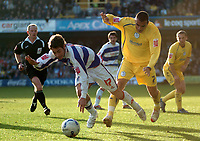 Photo: Tony Oudot.<br />Queens Park Rangers v Sheffield Wednesday. Coca Cola Championship. 10/03/2007.<br />Lee Cook of QPR is challenged by Marcus Tudgay of Sheffield Wednesday