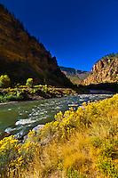 View of the Colorado River passing through Glenwood Canyon, Glenwood Springs, Colorado USA