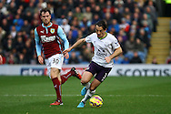 Everton's Leighton Baines gets away from Burnley's Ashley Barnes. Barclays Premier league match, Burnley v Everton at Turf Moor in Burnley, Lancs on Sunday 26th October 2014.<br /> pic by Chris Stading, Andrew Orchard sports photography.