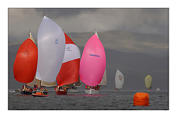 Yachting- The first days inshore racing  of the Bell Lawrie Scottish series 2003 at Tarbert Loch Fyne.  Light shifty winds dominated the racing... Azure leading a pack incl. Nimmo, Cracklin Rosie, IRL5851 and Playing FSTE in close Class one Downwind racing on the Henri Lloyd course...Pics Marc Turner / PFM