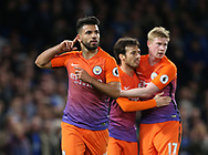 Manchester City's Sergio Aguero celebrates his goal during the Premier League match at the Stamford Bridge Stadium, London. Picture date: April 5th, 2017. Pic credit should read: David Klein/Sportimage