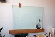 Glass marker board. Pick Up Sticks Enterprises, Studio & Workshop of Architect & Artist Christopher Dukes, Kingsford, Sydney, New South Wales, Australia.
