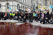 The protest group Extinction Rebellion stage a protest of fake blood in front of Downing Street 10, 9th March 2019, Central London, United Kingdom. Whitehall was closed for traffic while the group staged their The Blood of Our Children action where they poured hundreds of litres of fake blood across the road. After the blood was spilt a number of speakers, including children spoke of their fears of the future where man made climate change could have a devastating effect on the planet and human life. The group Extinction Rebellion is a movement which wants to force the Government to introduce radical climate change policies using civil disobedience and mass arrests.