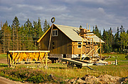 Construction of small rural wooden house, in foreste location, Sweden 1970